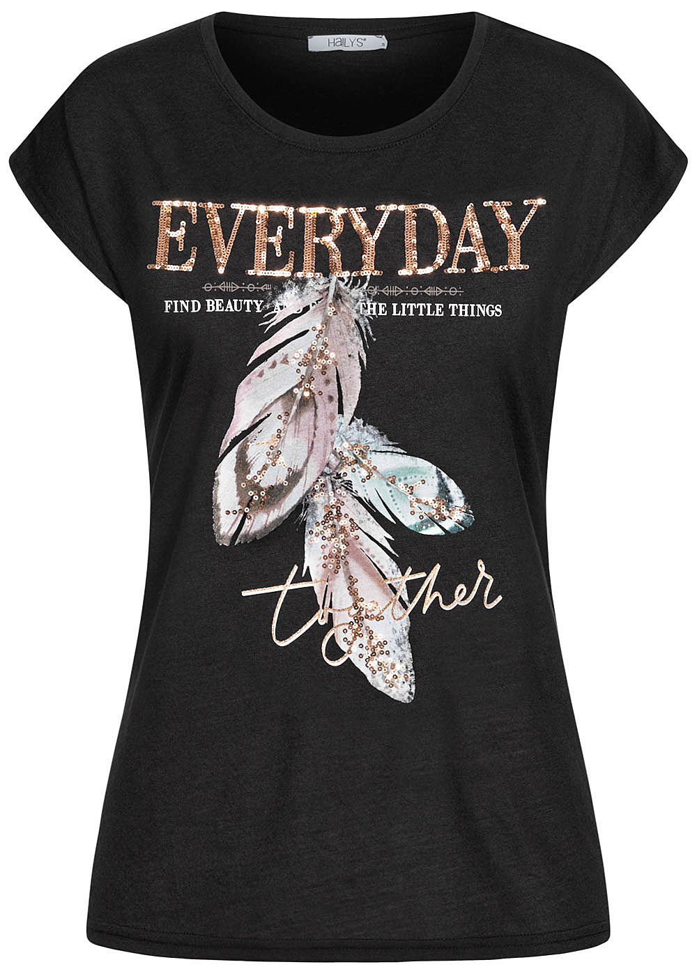 Hailys Damen T-Shirt EVERYDAY Pailletten Feder Print schwarz - Art.-Nr.: 20104706-L-BK