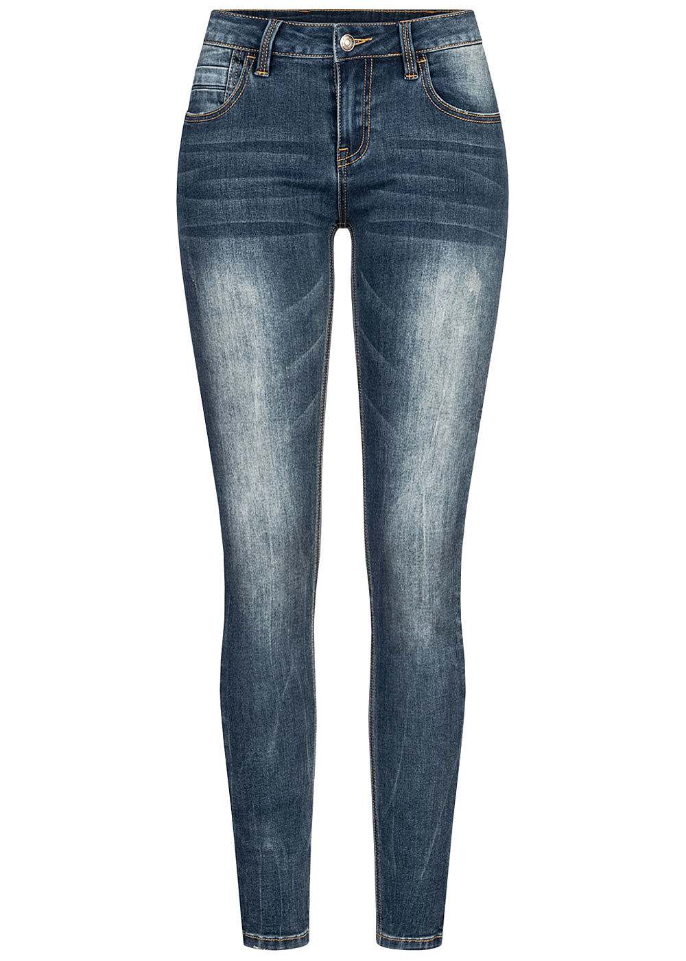 Seventyseven Lifestyle Damen Skinny Jeans Hose 5-Pockets Regular Waist med. blau denim - Art.-Nr.: 20117003