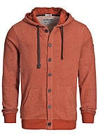 Eight2Nine Herren Zip Hoodie by Stitch & Soul Knopfleiste reddish braun