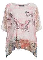 Styleboom Fashion Damen Shirt Oversize 2-lagig Netz Optik Pailletten rosa weiss