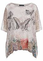 Styleboom Fashion Damen Shirt Oversize 2-lagig Netz Optik Pailletten beige weiss
