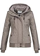 Eight2Nine Damen Winter Jacke Kapuze 2 Taschen Storm Cuffs by Sublevel fungi braun mel
