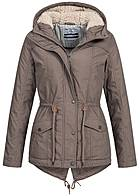 Eight2Nine Damen Winter Parka Kapuze Teddyfutter Kordelzug by Urban Surface ashed braun