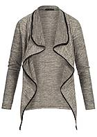 Styleboom Fashion Damen Cardigan Pipings 2 deko Zipper beige melange
