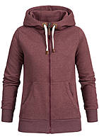 Eight2Nine Damen Zip Hoodie 2 Taschen Kapuze Tunnelzug by Sublevel mahogany rot mel