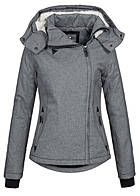 Eight2Nine Damen Winter Jacke wasserabweisend asym Zipper by Fresh Made dunkel grau mel