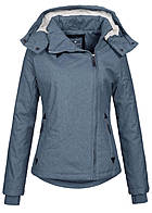 Eight2Nine Damen Winter Jacke wasserabweisend asym Zipper by Fresh Made pigeon blau mel