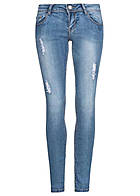 Seventyseven Lifestyle Damen Jeans Jeggings Fit Destroy Look 5-Pockets medium blau dn