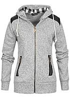 Styleboom Fashion Damen Zip Hoodie Karostoff in Kapuze light grey melange