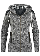 Styleboom Fashion Damen Zip Hoodie 2 deko Zipper Patches Kapuze schwarz melange