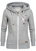 ONLY Damen Zip Hoodie Kapuze Einhorn Patches grau melange