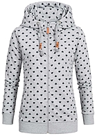 Eight2Nine Damen Sweat Jacke Zip Hoodie Herz Muster by Sublevel grau melange