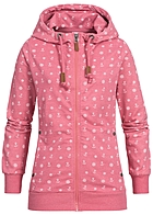 Eight2Nine Damen Zip Hoodie 2 Taschen Kapuze Anker Muster by Sublevel raspberry rosa mel
