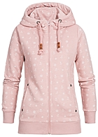 Eight2Nine Damen Zip Hoodie 2 Taschen Kapuze Anker Muster by Sublevel shadow rosa mel