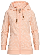 Eight2Nine Damen Zip Hoodie 2 Taschen Kapuze Kakteen by Sublevel pastel orange