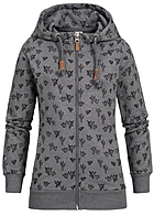 Eight2Nine Damen Zip Hoodie 2 Taschen Kapuze Kakteen by Sublevel grau melange