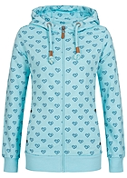 Eight2Nine Damen Zip Hoodie 2 Taschen Kapuze Diamond heart by Sublevel frosty blau