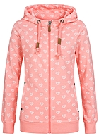 Eight2Nine Damen Zip Hoodie 2 Taschen Kapuze Diamond heart by Sublevel lollipop pink