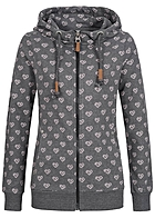 Eight2Nine Damen Zip Hoodie 2 Taschen Kapuze Diamond heart by Sublevel anthracite grau
