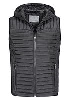 Eight2Nine  Men Hooded Light Padded Quilt Vest by Stitch and Soul black