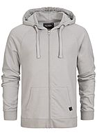 Eight2Nine Men Basic Sweat Zip Hoodie by Sky Rebel light grey