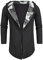 Seventyseven Lifestyle Men Long Hooded Open Edge Camo Cardigan black grey camo