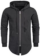 Seventyseven Lifestyle Men Pleat Sleeves Long Zip Hoodie black
