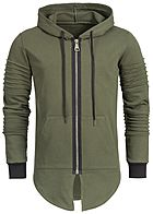 Seventyseven Lifestyle Men Pleat Sleeves Long Zip Hoodie olive khaki