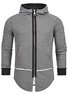 Seventyseven Lifestyle Men Open Edge Long Zip Hoodie dark grey