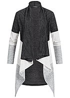 Styleboom Fashion Damen Long  Drapped Cardigan Colorblock dunkel grau