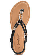Seventyseven Lifestyle Damen Toe Post Sandals Pearls schwarz