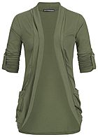 Styleboom Fashion Damen Turn-Up Cardigan 2-Pockets military grün