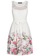 22b41c50c076 Styleboom Fashion Damen Kleid Spitze Brustpads Blumen Print weiss rosa