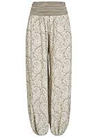 84f98ee82231 Styleboom Fashion Damen Sommer Hose Paisley Muster breiter Bund fango beige  weiss
