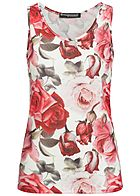 1f2ba4cf02af Styleboom Fashion Damen Tank Top Rosen Print Allover weiss rot pink