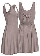 9514f56f7f0b Styleboom Fashion Damen Mini Kleid Deko Knöpfe Schleife Rücken fango braun
