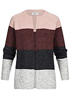 ONLY Damen Strick Cardigan Colorblock misty rosa bordeaux rot grau
