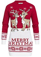 Hailys Damen Longform Pullover Merry Christmas Print rot weiss