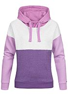 Eight2Nine Damen Hoodie Kapuze Colorblock by Sublevel lila beige