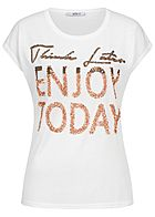 Hailys Damen T-Shirt ENJOY TODAY Pailletten off weiss kupfer