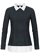JDY by ONLY Damen Sweater 2in1 Optik Struktur Muster sky captain blau