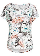 Seventyseven Lifestyle Damen Blusen Shirt Blumen Print off weiss braun orange