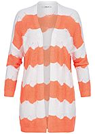 Hailys Damen Knit Cardigan 2-Tone coral orange weiss