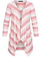 Styleboom Fashion Damen Drapped Stripe Cardigan rosa weiss rot