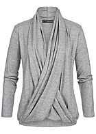 Styleboom Fashion Damen Wrapped Cardigan hell grau