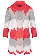 Styleboom Fashion Damen Colorblock Striped Cardigan coral pink grau weiss