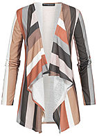 Styleboom Fashion Damen Stripped Cardigan Multicolor braun