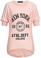 a9adc5e1848136 Styleboom Fashion Damen Bat Wings Shirt New York rosa schwarz melange