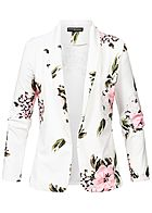 Styleboom Fashion Damen Flower Print Blazer weiss