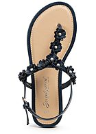 Seventyseven Lifestyle Damen Flower Toe Post Sandals navy blau